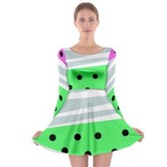 Dots And Lines, Mixed Shapes Pattern, Colorful Abstract Design Long Sleeve Skater Dress by Casemiro