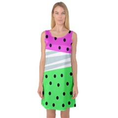 Dots And Lines, Mixed Shapes Pattern, Colorful Abstract Design Sleeveless Satin Nightdress by Casemiro