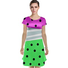 Dots And Lines, Mixed Shapes Pattern, Colorful Abstract Design Cap Sleeve Nightdress by Casemiro
