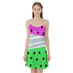 Dots And Lines, Mixed Shapes Pattern, Colorful Abstract Design Satin Night Slip by Casemiro