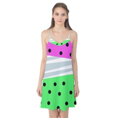 Dots And Lines, Mixed Shapes Pattern, Colorful Abstract Design Camis Nightgown by Casemiro