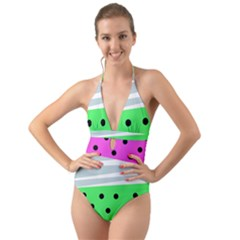 Dots And Lines, Mixed Shapes Pattern, Colorful Abstract Design Halter Cut-out One Piece Swimsuit by Casemiro