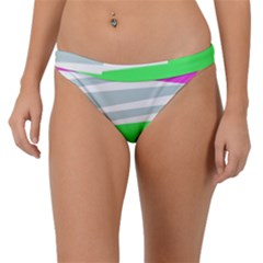 Dots And Lines, Mixed Shapes Pattern, Colorful Abstract Design Band Bikini Bottom by Casemiro