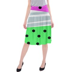 Dots And Lines, Mixed Shapes Pattern, Colorful Abstract Design Midi Beach Skirt by Casemiro