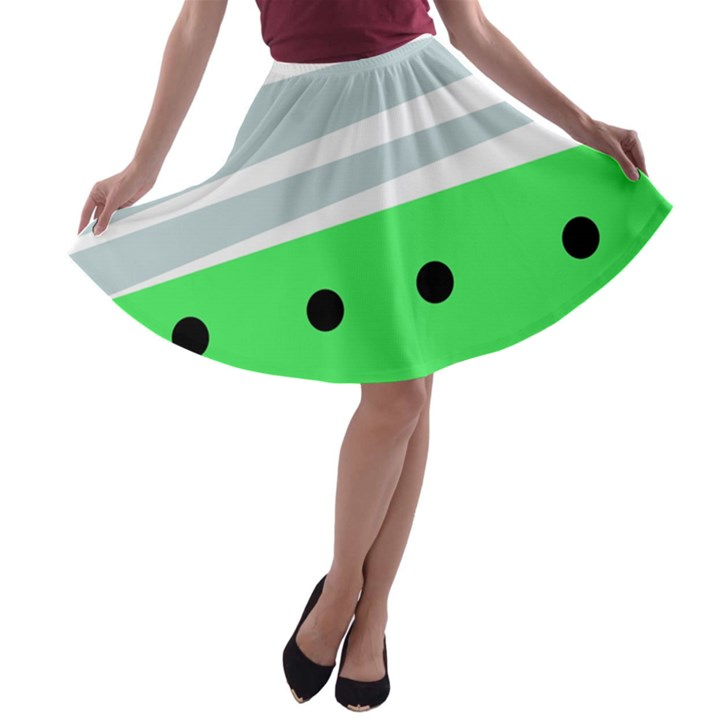 Dots and lines, mixed shapes pattern, colorful abstract design A-line Skater Skirt