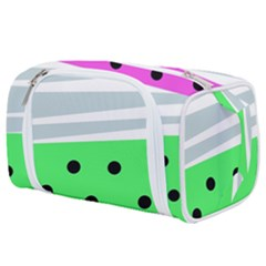 Dots And Lines, Mixed Shapes Pattern, Colorful Abstract Design Toiletries Pouch by Casemiro