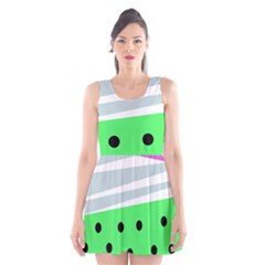 Dots And Lines, Mixed Shapes Pattern, Colorful Abstract Design Scoop Neck Skater Dress by Casemiro