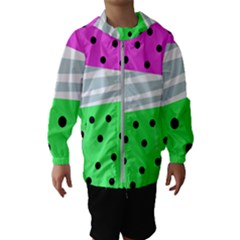 Dots And Lines, Mixed Shapes Pattern, Colorful Abstract Design Kids  Hooded Windbreaker by Casemiro