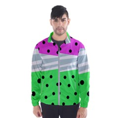 Dots And Lines, Mixed Shapes Pattern, Colorful Abstract Design Men s Windbreaker by Casemiro