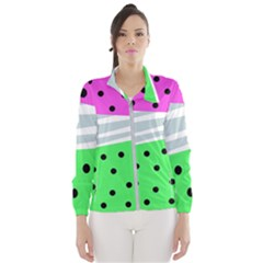Dots And Lines, Mixed Shapes Pattern, Colorful Abstract Design Women s Windbreaker by Casemiro