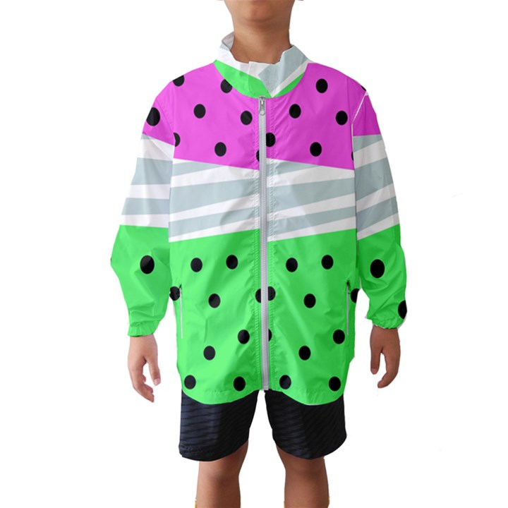 Dots and lines, mixed shapes pattern, colorful abstract design Kids  Windbreaker