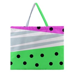 Dots And Lines, Mixed Shapes Pattern, Colorful Abstract Design Zipper Large Tote Bag