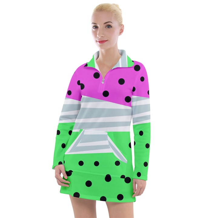 Dots and lines, mixed shapes pattern, colorful abstract design Women s Long Sleeve Casual Dress