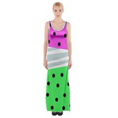 Dots And Lines, Mixed Shapes Pattern, Colorful Abstract Design Thigh Split Maxi Dress by Casemiro