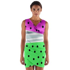 Dots And Lines, Mixed Shapes Pattern, Colorful Abstract Design Wrap Front Bodycon Dress by Casemiro
