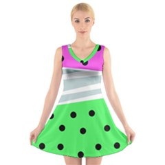 Dots And Lines, Mixed Shapes Pattern, Colorful Abstract Design V-neck Sleeveless Dress