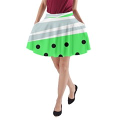 Dots And Lines, Mixed Shapes Pattern, Colorful Abstract Design A-line Pocket Skirt by Casemiro