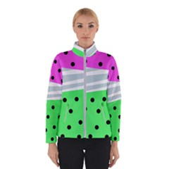Dots And Lines, Mixed Shapes Pattern, Colorful Abstract Design Winter Jacket by Casemiro