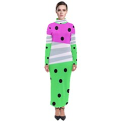 Dots And Lines, Mixed Shapes Pattern, Colorful Abstract Design Turtleneck Maxi Dress by Casemiro