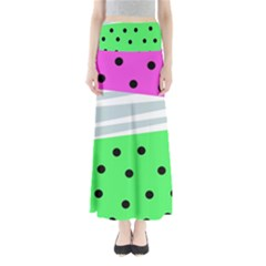 Dots And Lines, Mixed Shapes Pattern, Colorful Abstract Design Full Length Maxi Skirt by Casemiro
