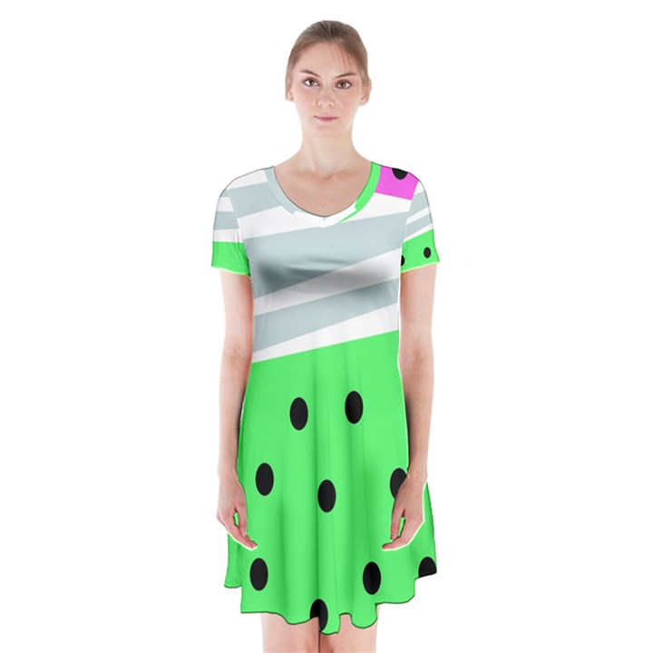 Dots and lines, mixed shapes pattern, colorful abstract design Short Sleeve V-neck Flare Dress