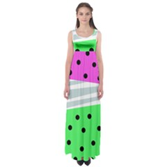 Dots And Lines, Mixed Shapes Pattern, Colorful Abstract Design Empire Waist Maxi Dress by Casemiro