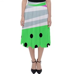 Dots And Lines, Mixed Shapes Pattern, Colorful Abstract Design Classic Midi Skirt by Casemiro