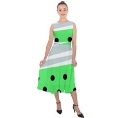 Dots And Lines, Mixed Shapes Pattern, Colorful Abstract Design Midi Tie-back Chiffon Dress by Casemiro