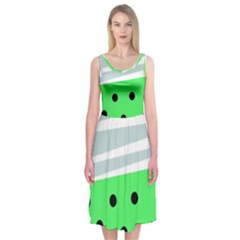 Dots And Lines, Mixed Shapes Pattern, Colorful Abstract Design Midi Sleeveless Dress by Casemiro