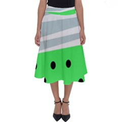 Dots And Lines, Mixed Shapes Pattern, Colorful Abstract Design Perfect Length Midi Skirt by Casemiro