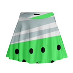 Dots And Lines, Mixed Shapes Pattern, Colorful Abstract Design Mini Flare Skirt by Casemiro