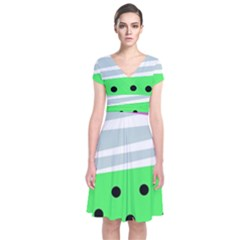 Dots And Lines, Mixed Shapes Pattern, Colorful Abstract Design Short Sleeve Front Wrap Dress by Casemiro