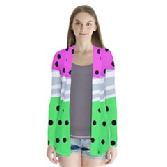 Dots And Lines, Mixed Shapes Pattern, Colorful Abstract Design Drape Collar Cardigan by Casemiro