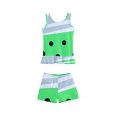 Dots And Lines, Mixed Shapes Pattern, Colorful Abstract Design Kids  Boyleg Swimsuit by Casemiro