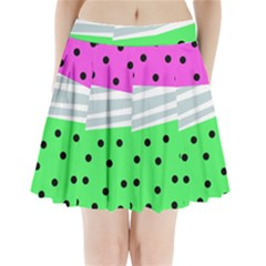 Dots And Lines, Mixed Shapes Pattern, Colorful Abstract Design Pleated Mini Skirt by Casemiro