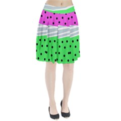 Dots And Lines, Mixed Shapes Pattern, Colorful Abstract Design Pleated Skirt by Casemiro