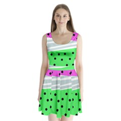Dots And Lines, Mixed Shapes Pattern, Colorful Abstract Design Split Back Mini Dress