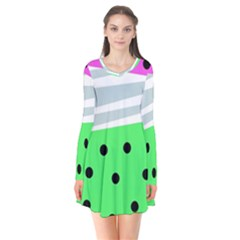 Dots And Lines, Mixed Shapes Pattern, Colorful Abstract Design Long Sleeve V-neck Flare Dress by Casemiro