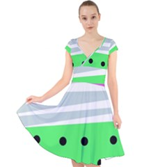 Dots And Lines, Mixed Shapes Pattern, Colorful Abstract Design Cap Sleeve Front Wrap Midi Dress by Casemiro