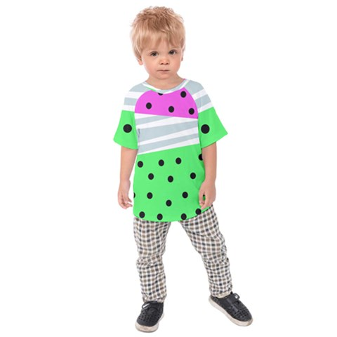 Dots And Lines, Mixed Shapes Pattern, Colorful Abstract Design Kids  Raglan Tee by Casemiro