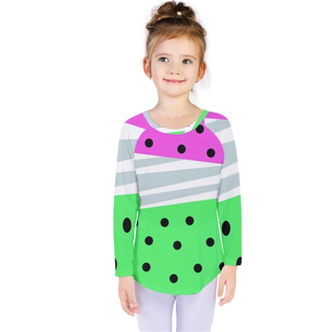 Dots And Lines, Mixed Shapes Pattern, Colorful Abstract Design Kids  Long Sleeve Tee by Casemiro