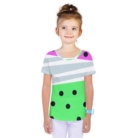 Dots And Lines, Mixed Shapes Pattern, Colorful Abstract Design Kids  One Piece Tee by Casemiro