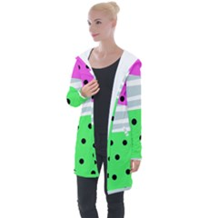 Dots And Lines, Mixed Shapes Pattern, Colorful Abstract Design Longline Hooded Cardigan by Casemiro