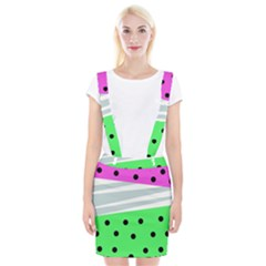 Dots And Lines, Mixed Shapes Pattern, Colorful Abstract Design Braces Suspender Skirt by Casemiro