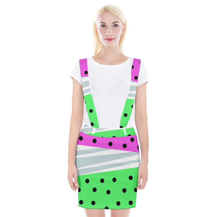 Dots and lines, mixed shapes pattern, colorful abstract design Braces Suspender Skirt