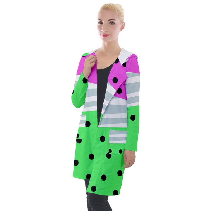 Dots and lines, mixed shapes pattern, colorful abstract design Hooded Pocket Cardigan
