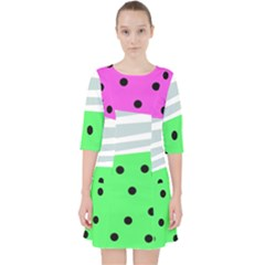 Dots And Lines, Mixed Shapes Pattern, Colorful Abstract Design Pocket Dress