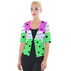 Dots And Lines, Mixed Shapes Pattern, Colorful Abstract Design Cropped Button Cardigan by Casemiro