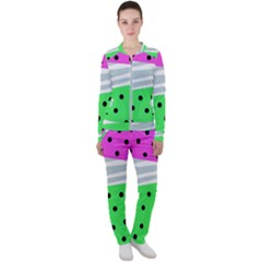 Dots And Lines, Mixed Shapes Pattern, Colorful Abstract Design Casual Jacket And Pants Set by Casemiro