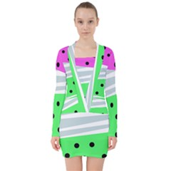 Dots And Lines, Mixed Shapes Pattern, Colorful Abstract Design V-neck Bodycon Long Sleeve Dress by Casemiro